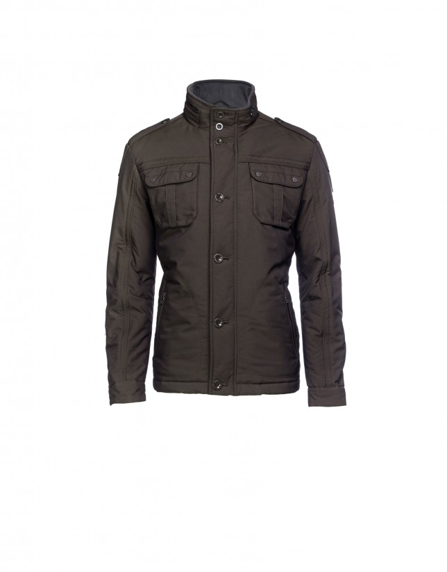 Casual jacket with brown micro pattern