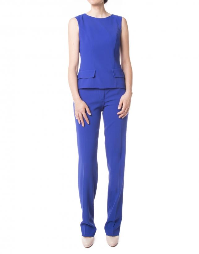 Pantalón recto azul Klein
