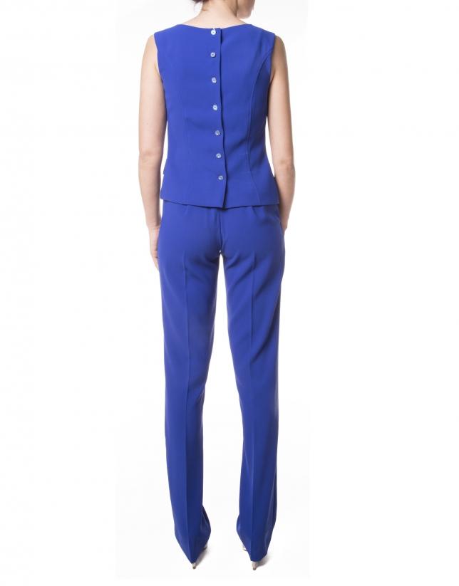Pantalon droit bleu Klein