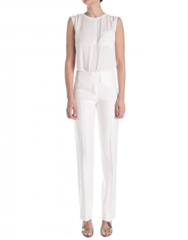 Pantalón recto blanco