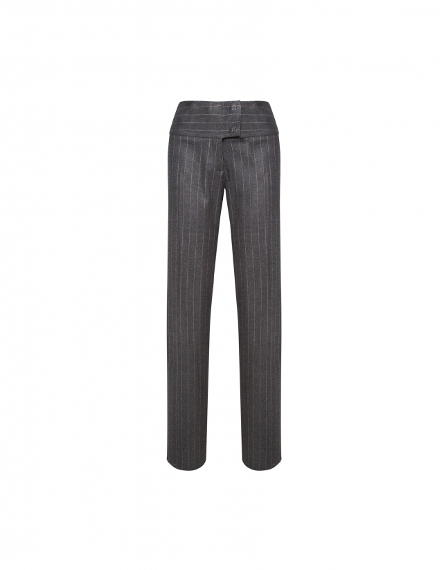 Straight gray and beige diplomatic striped pants