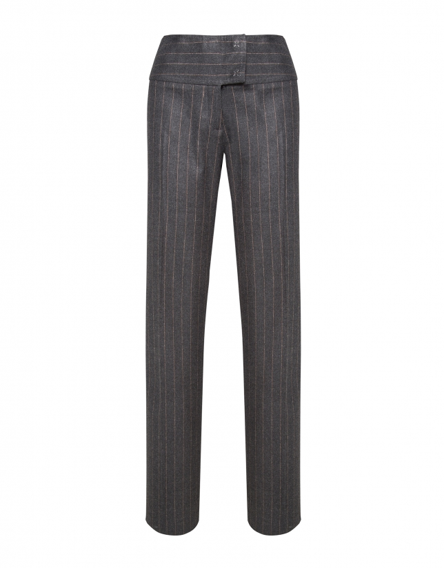 Pantalon droit gris à rayures diplomatiques beige