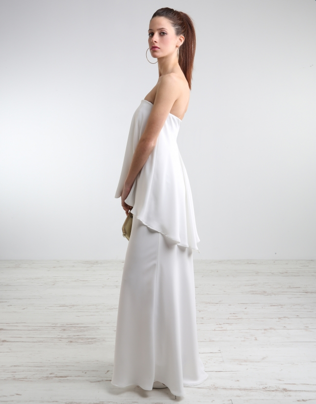 Off-white long strapless dress