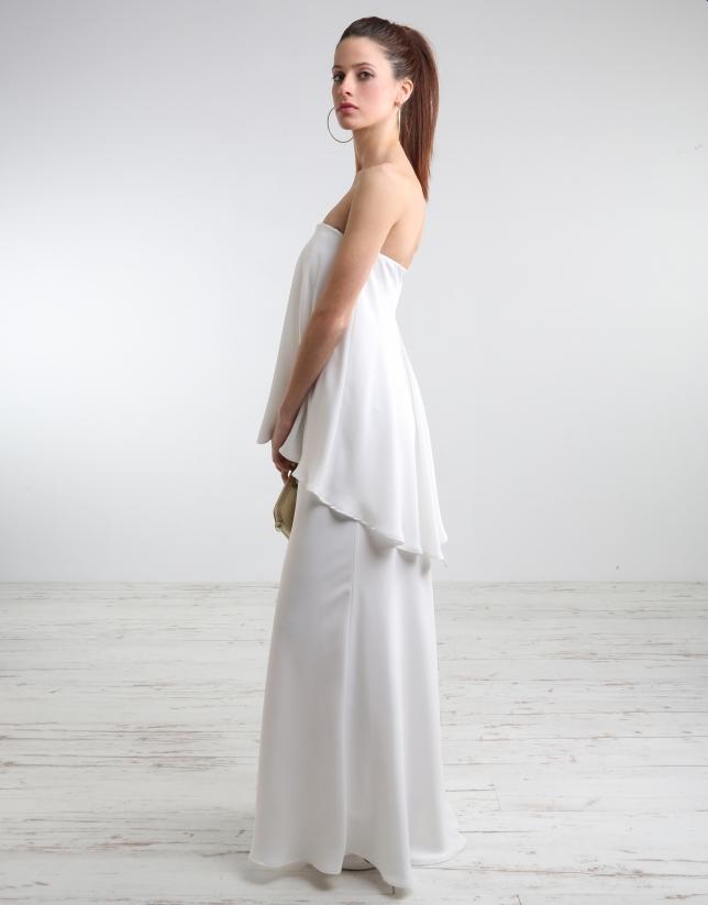 Robe bustier longue blanc cassé