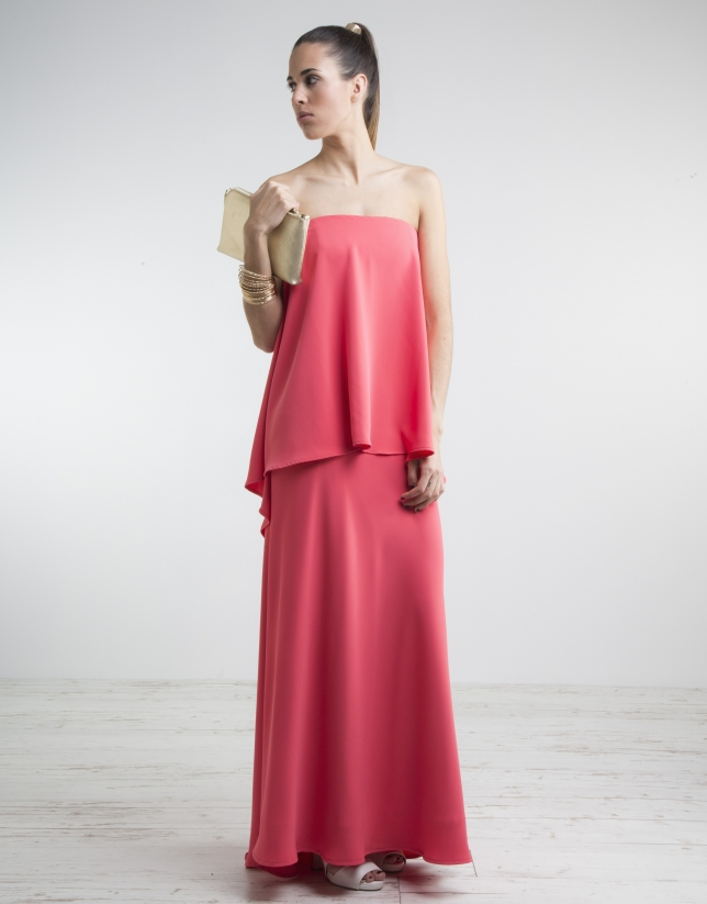 Coral long strapless dress