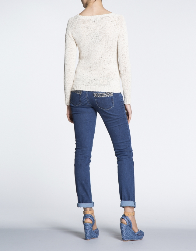 Beige square neck openwork sweater