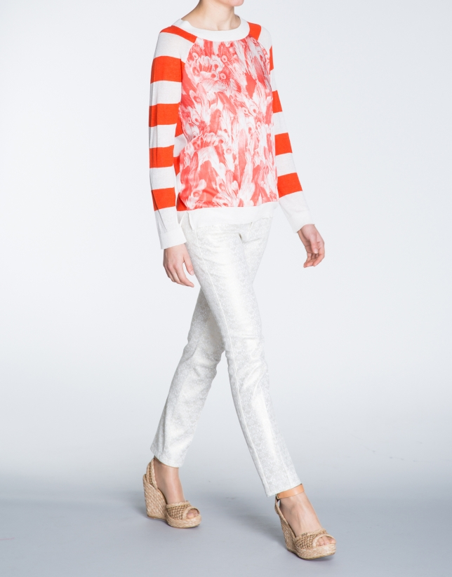 Coral striped print linen top