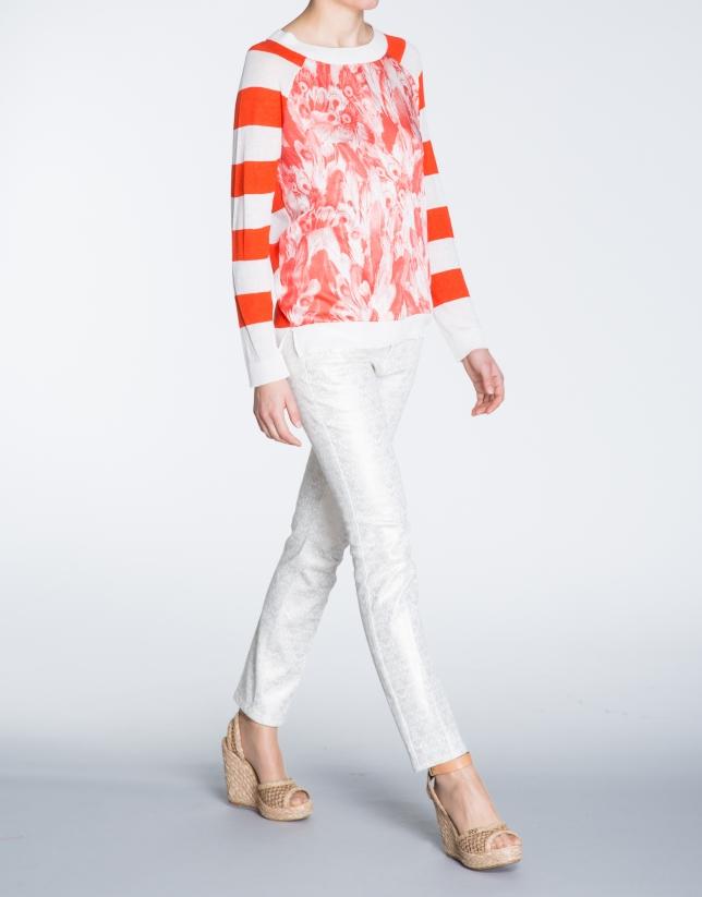 T-shirt en lin, motif corail, avec des franges.