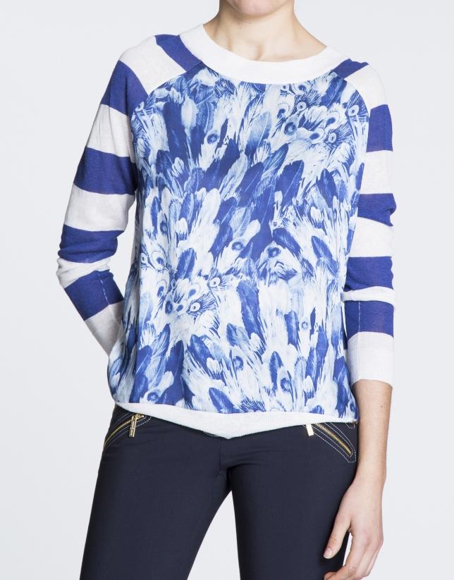 T-shirt en lin, motif bleu marine avec des franges.