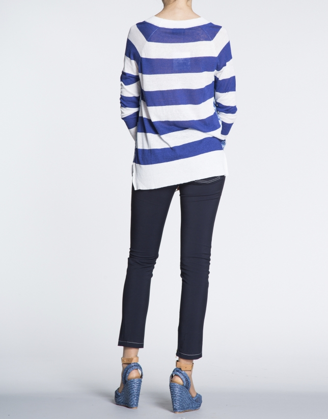 Navy blue striped linen top