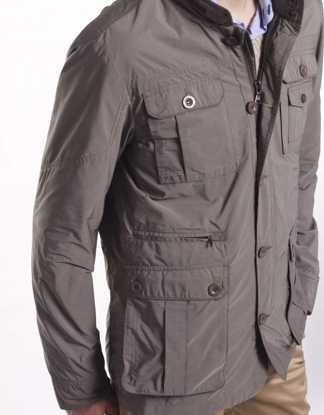 Khaki light weight piqué jacket
