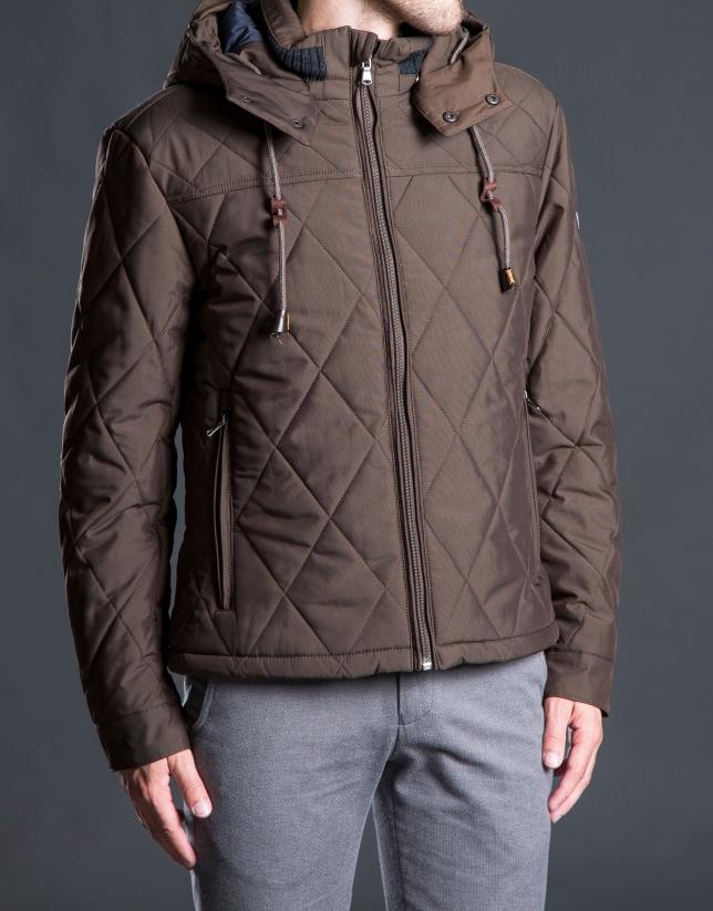 Brown hooded tracksuit jacket