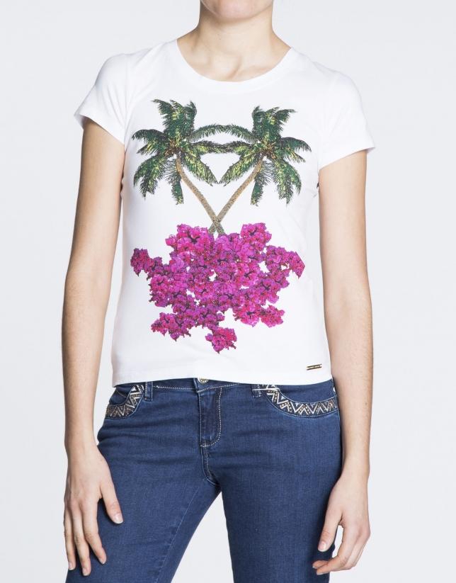 White palm tree print cotton top