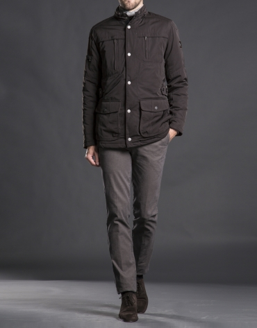 Brown tracksuit jacket with four pockets