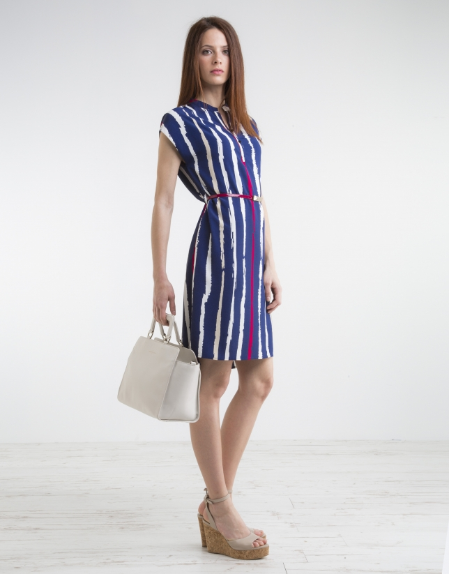 Blue striped shirtwaist dress