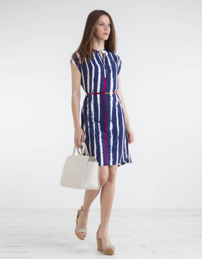 Vestido camisero rayas azul