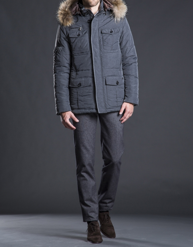 Gray hair hooded tracksuit jacket
