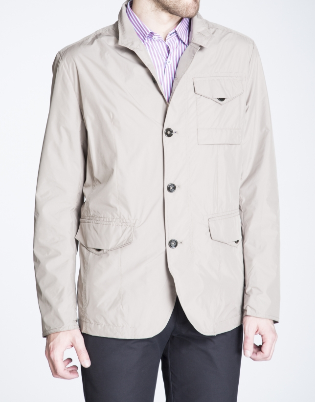 Khaki track jacket with three pockets