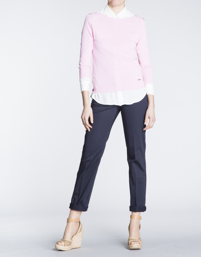 Pink boat neck sweater with gold buttons
