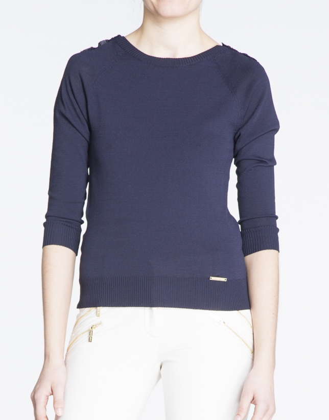 Navy blue boat neck sweater with gold buttons