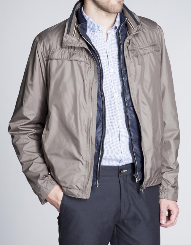 Khaki track jacket with removable vest