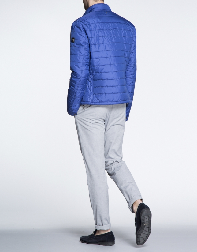 Blue quilted track jacket