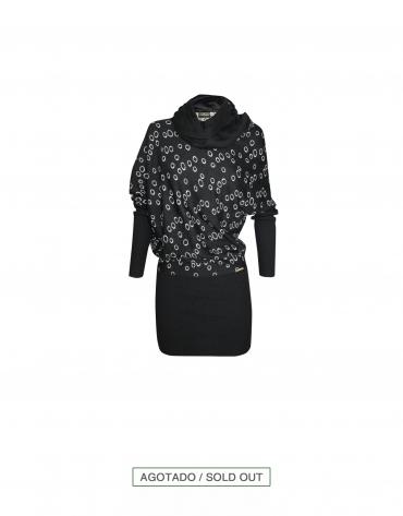 Vestido-Jersey negro con fantasía