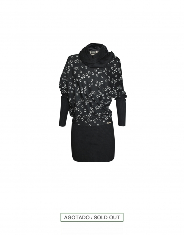 Dress with circular jacquard pattern