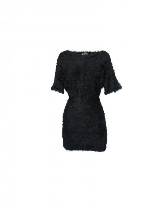 Jersey-vestido manga corta negro