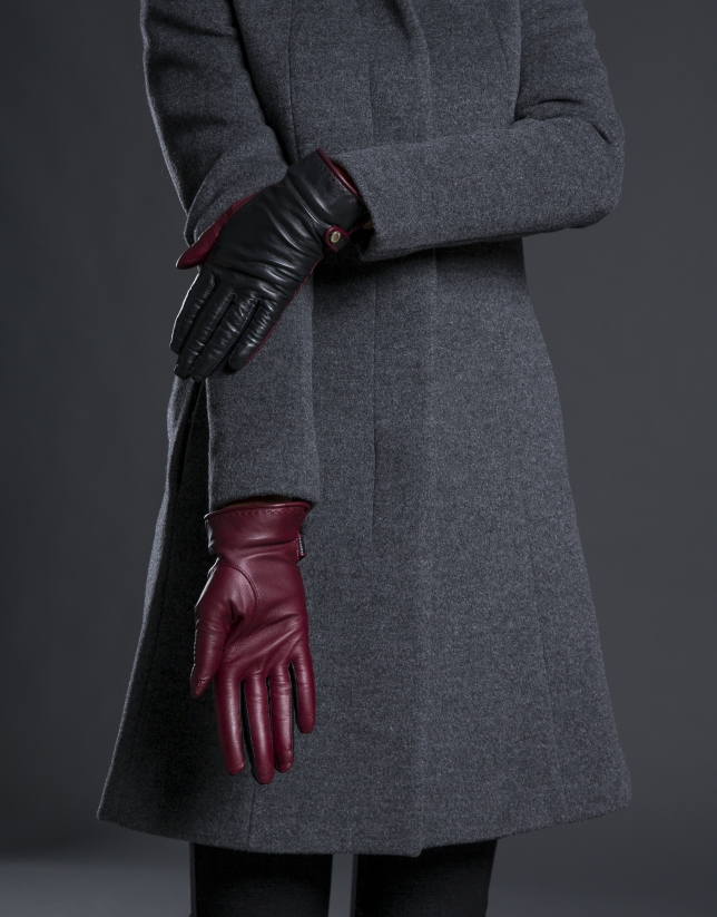 Burgundy and black leather gloves with rabbit fur cuffs