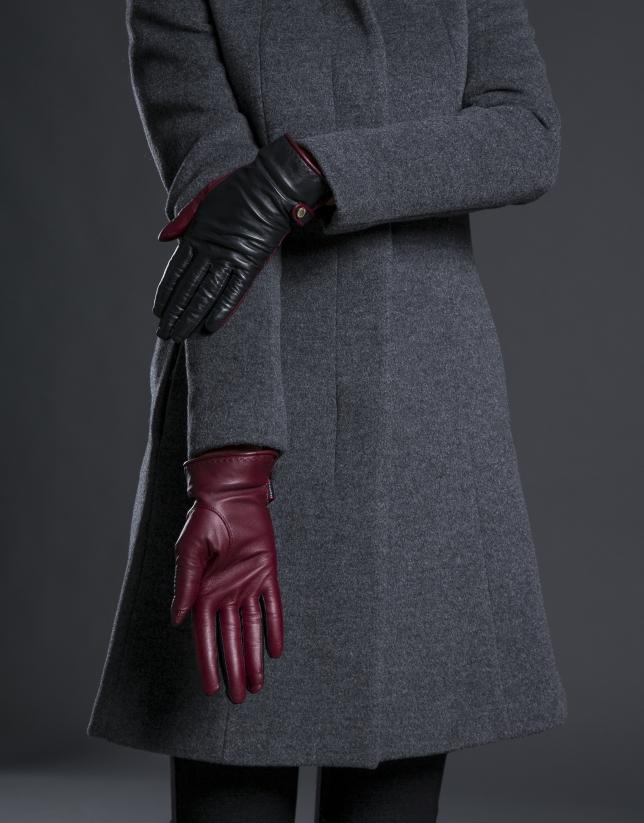 Gant cuir bicolore bordeaux noir avec fourrure lapin au poignet