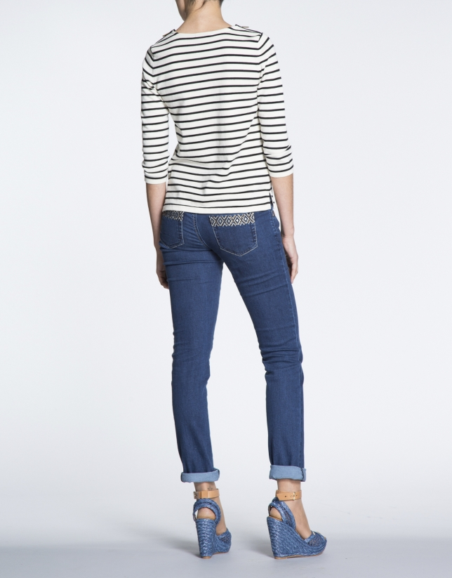 Sailor sweater with zippered shoulders