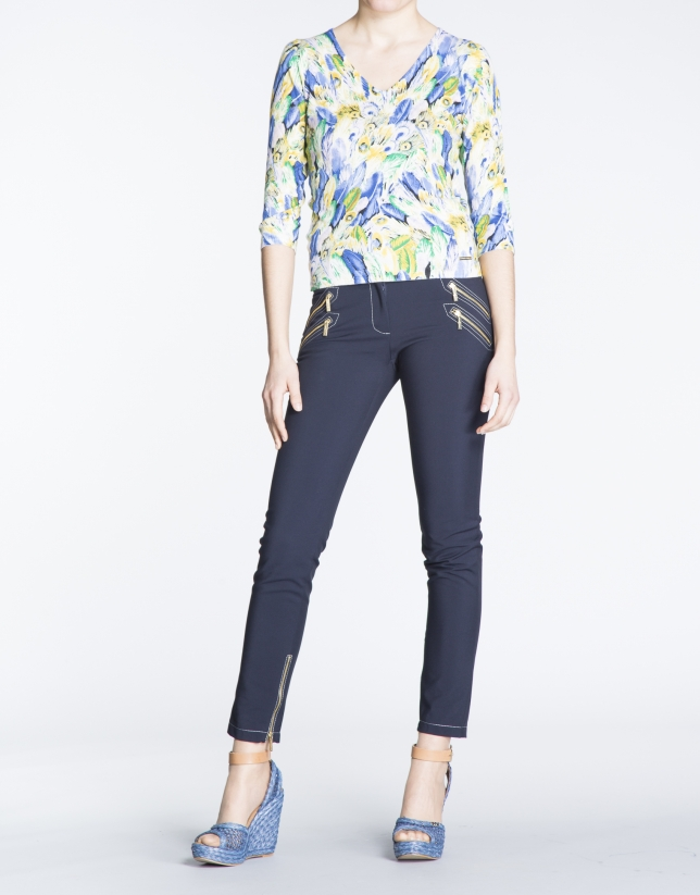 Feather print three-quarter sleeve top