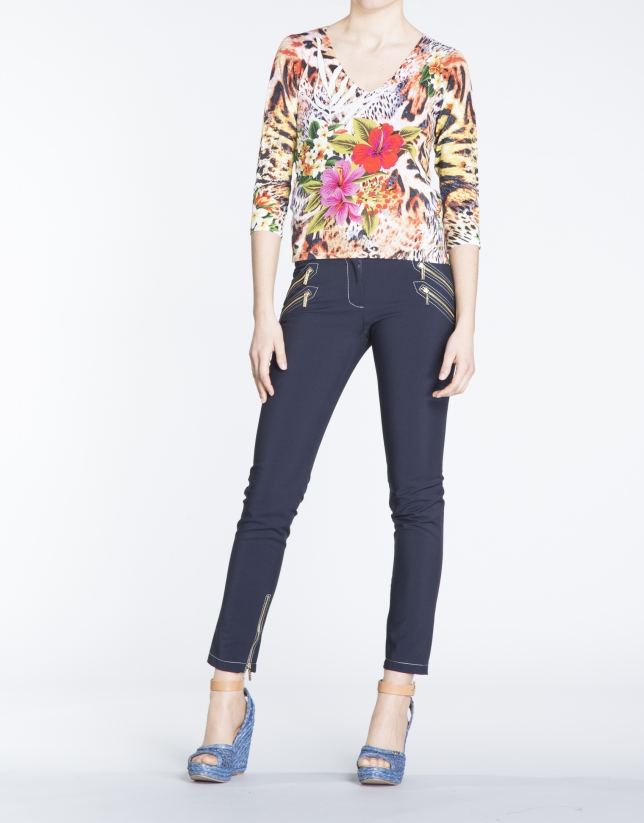 Floral print three quarter sleeve top