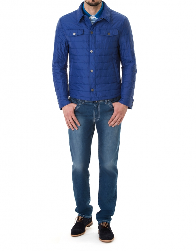 Veste col chemisier bleu roi