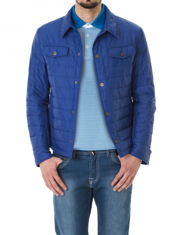 Blue windbreaker with collar