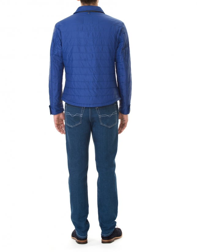 Blue windbreaker with collar