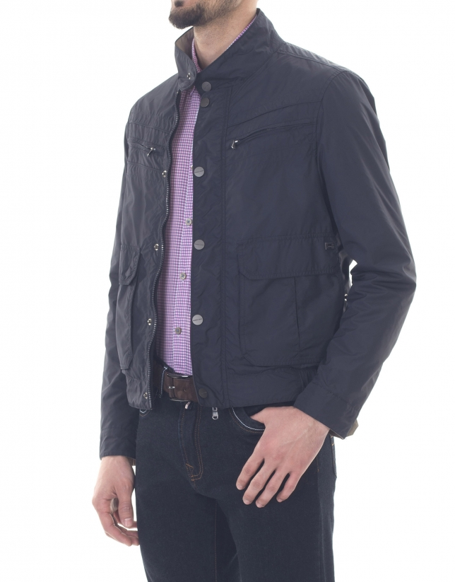 Reversible navy blue sport jacket