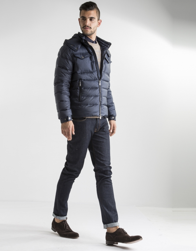 Short navy blue anorak