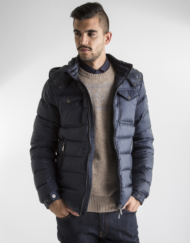 Short navy blue anorak