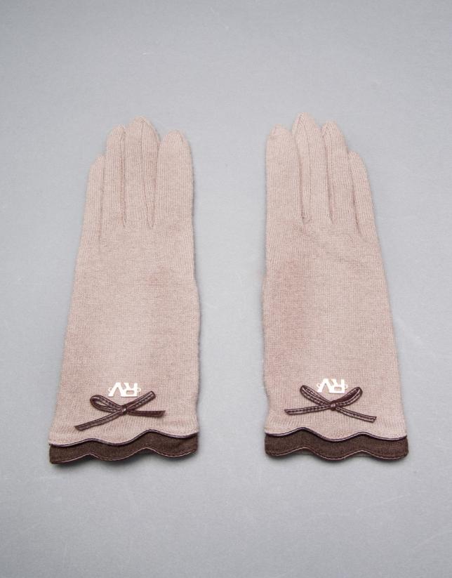 Gant tricot gris taupe avec liserés et nœud en cuir marron
