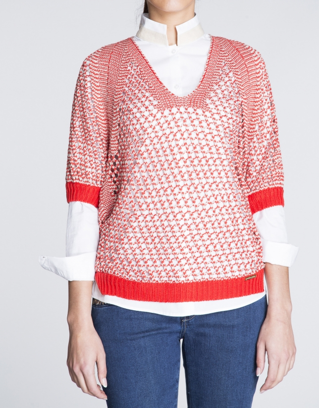 Black, red and silver open knit bat sleeve sweater