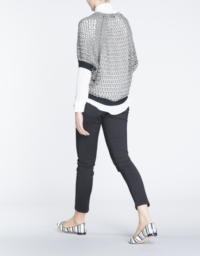Black, beige and silver open knit bat sleeve sweater