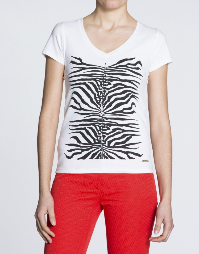 White short sleeve V-neck animal print top
