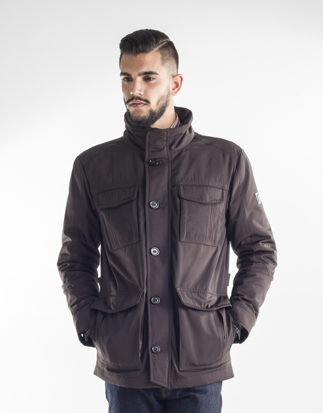 Chocolate brown tracksuit jacket with four pockets