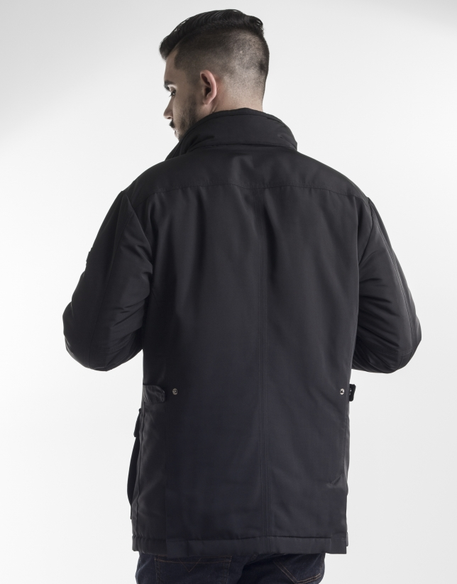 Black tracksuit jacket with front zipper