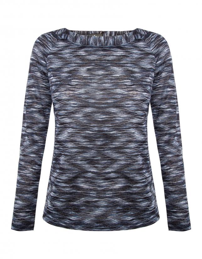 Camiseta cuello barco tejido relieve azul