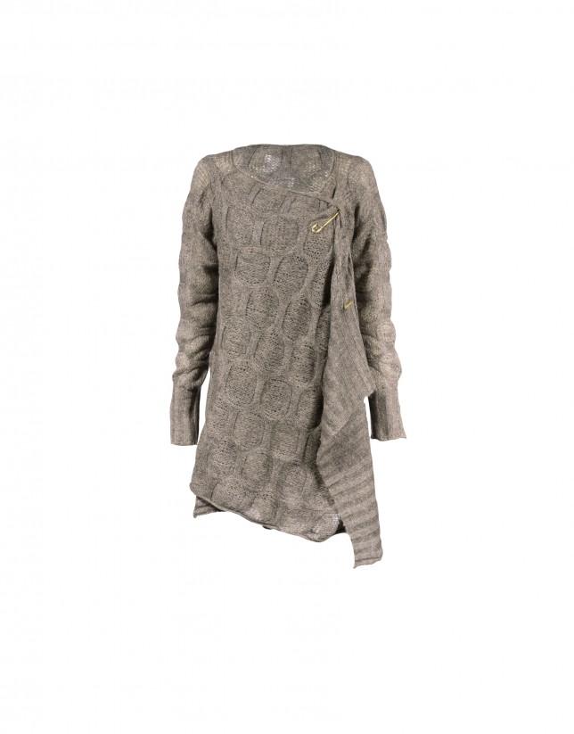 Long knit jacket in brown