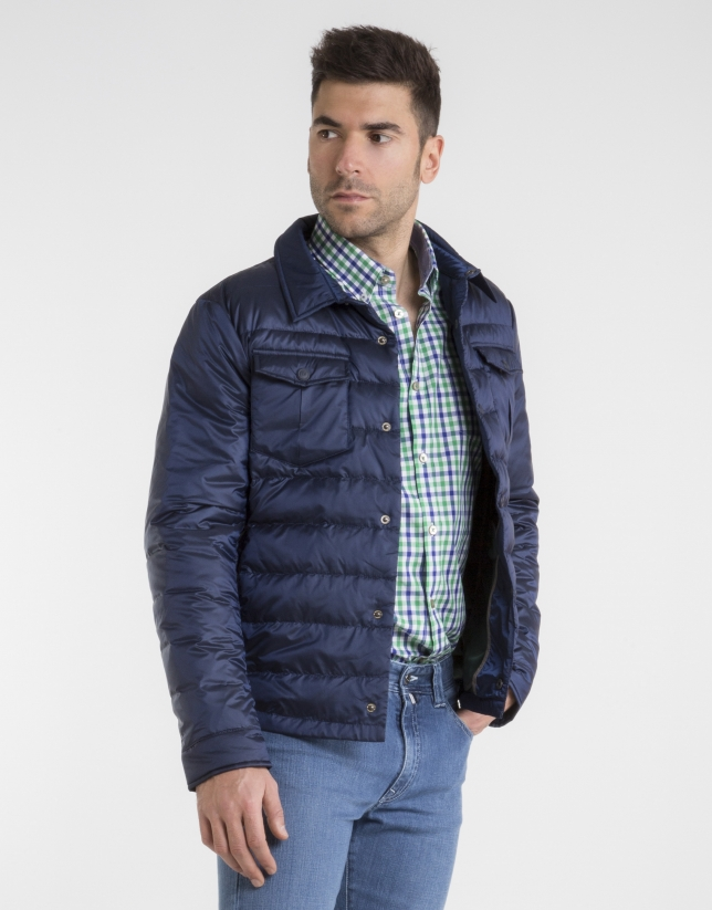 Deep blue quilted windbreaker