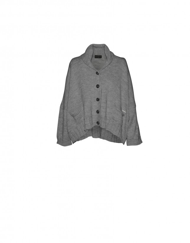 Light grey short wide cardigan